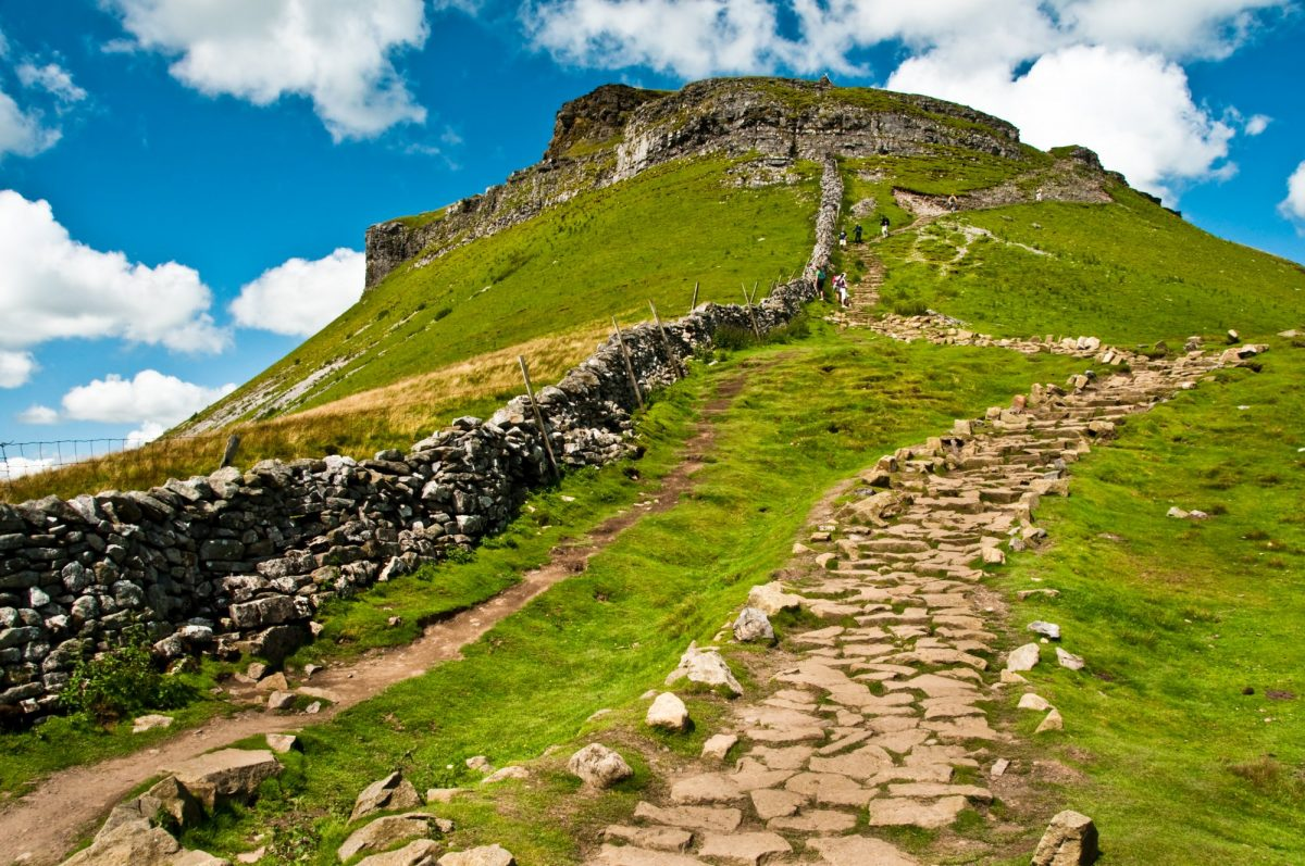 photo looking up the path to the summit of Pen-Y-Ghent